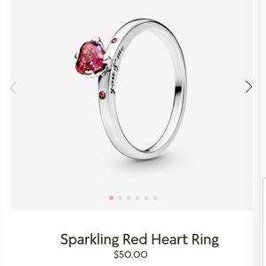 Pandora sparkling red heart ring 6.5